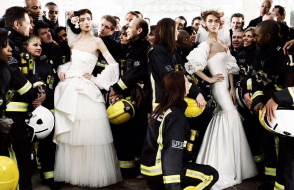 Unusual mario testino fashion photograph model firefighters wedding