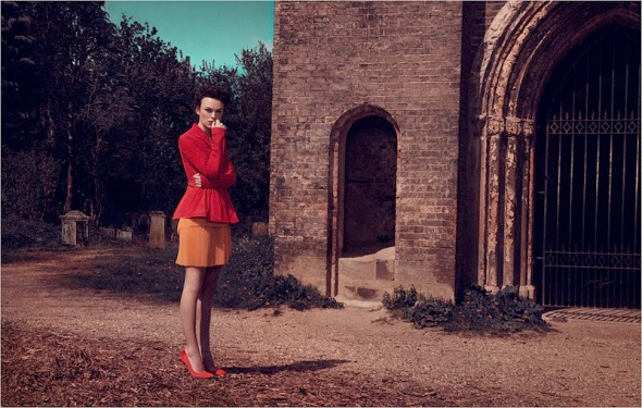 brilliant photoshoot kiera knightley red rustic scene