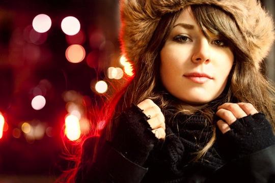 Beauty bokeh portrait red lights